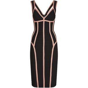 NWT Herve leger black and pink bandage dress XS
